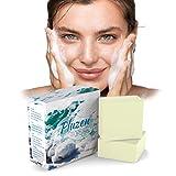 Jabón de leche de cabra y sal marina elimina los puntos negros. Eficaz contra el tratamiento de la psoriasis, el acné y el eccema en la cara, exfoliación natural de las manos de la hidratación.
