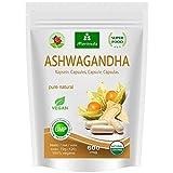 Ashwagandha cápsulas 600 mg o tabletas 1000 mg - producto natural puro en la mejor calidad - cereza de invierno, ginseng indio (120 cápsulas)