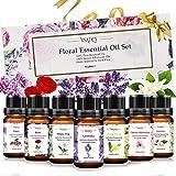 VSADEY Aceites Esenciales Aromaterapia 7 x 10 ml, Aceite Esencial Floral 100% Puro y Natural (Flores de Cerezo, Clavo, Jazmín, Lavanda, Rosa, Té Blanco, Ylang Ylang) para Humidificador y Difusor Arom